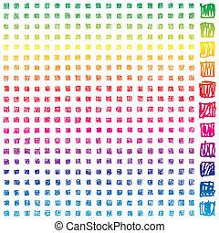 399, diferente, scibble, pixels, elementos, com, espectro, gradiente