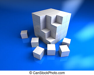 3b glossy cube - 3d white cube with six blocks
