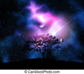 3d, árbol, en, un, herboso, colina, contra, un, espacio, cielo, con, planetas