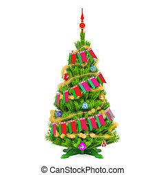 3d, árbol, navidad, interpretación, navidad, banderín, banderas, belarusian
