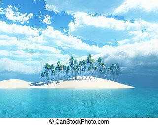 3d, árvore palma, ilha
