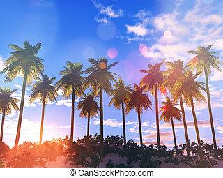 3d, árvore palma, paisagem