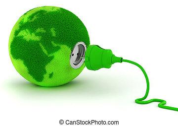 3d, énergie, concept, vert