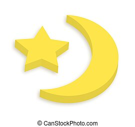 3d, étoile, lune