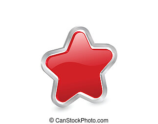 3d, étoile, rouges, icône
