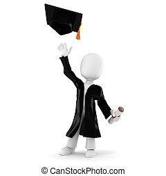 3d, étudiant, remise de diplomes, homme