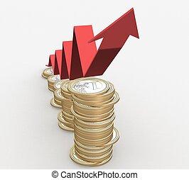 3d, éxito financiero, concepto