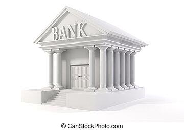 3d, ícone, de, vindima, banco, predios, branco, fundo