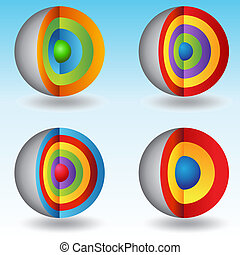 3d, überlagert, kern, kugelförmig, tabellen