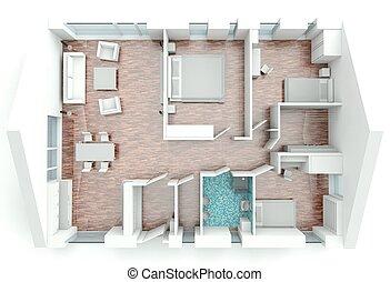 Delightful 3d, übertragung, Haus, Plan
