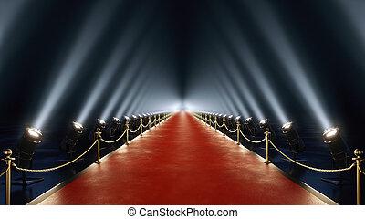 3d, übertragung, roter teppich, mit, volumen, licht, in, 4k