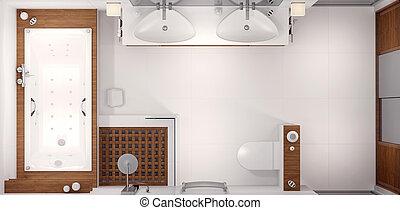 3d, übertragung, von, badezimmer
