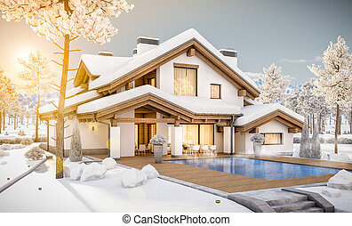 stil chalet cozy haus modern bertragung 3d sommer stockfotografie bilder und foto. Black Bedroom Furniture Sets. Home Design Ideas