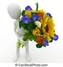 3d , άντραs , με , λουλούδια