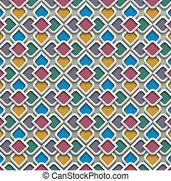 3d , έγχρωμος , seamless, πρότυπο , μέσα , ισλαμικός , ρυθμός
