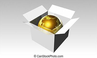3d , αμολλάω κάβο , εικόνα , από , ένα , σφαίρα , μέσα , ένα , κουτί , 3
