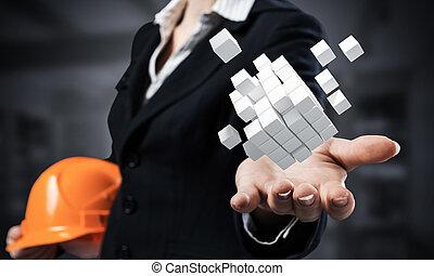 3d , αμπάρι , επιχειρηματίαs γυναίκα , βάγιο , αφαιρώ , κύβος