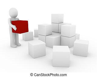 3d , ανθρώπινος , κύβος , κουτί , αριστερός αγαθός