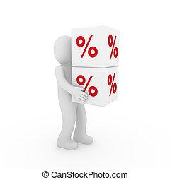 3d , ανθρώπινος , πώληση , κύβος , αριστερός αγαθός
