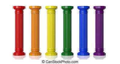 3d , απόδοση , έξι , ίρις μπογιά , διακοσμώ με κολώνες