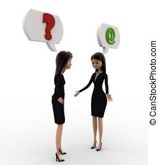 3d , γυναίκα , επικοινωνία , πρόβλημα , γενική ιδέα