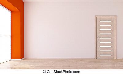 3d , δωμάτιο , αδειάζω , σύγχρονος