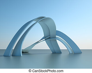 3d , εικόνα , από , ένα , μοντέρνος αρχιτεκτονική , κτίριο , με , αψίδα , επάνω , ουρανόs , φόντο