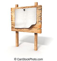 3d , κενό , ξύλινος , αναχωρώ ταμπλώ