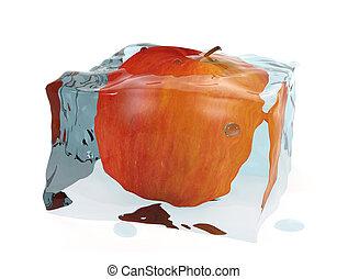 3d , κύβος , μήλο , πάγοs , κόκκινο