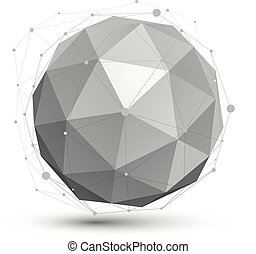 3d , μικροβιοφορέας , αφαιρώ , tech , κύκλος , εικόνα , άποψη , γεωμετρικός , σφαιρικός , αντικείμενο , με , wireframe.