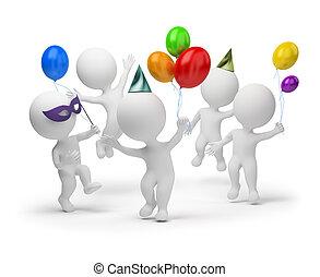 3d , μικρό , άνθρωποι , - , γιορτή