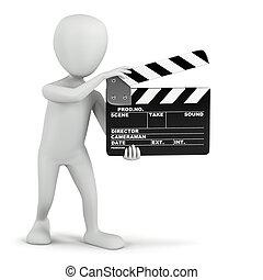 3d , μικρό , άνθρωποι , - , κινηματογράφοs , clapper.