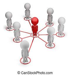 3d , μικρό , άνθρωποι , - , συνεργάτηs , δίκτυο
