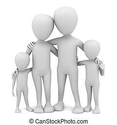 3d , μικρό , άνθρωποι , - , family.