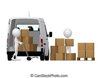 3d , μικρό , άνθρωπος , άγω , ο , ανάμιξη ανοικτή φορτάμαξα , με , boxes., κουτιά , και , van.