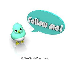 3d , πουλί , ακολούθησε με
