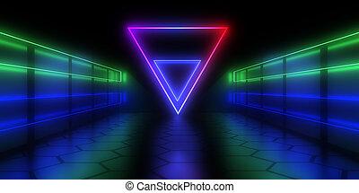 3d , τούνελ , εικόνα , αφαιρώ , αρχιτεκτονική , light., νέο