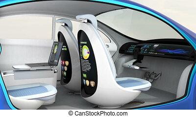 3d, анимация, of, автомобиль, интерьер