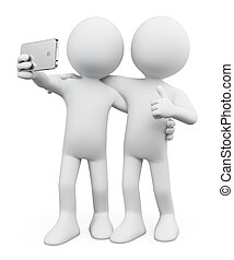 3d, белый, people., selfie, with, , друг