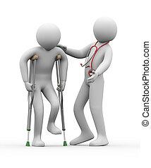 3d, врач, помощь, персона, на, crutches