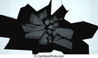3d, компьютер, стена, вниз, generated, fragments., задний план, destructed, falling, сломанный, оказание, абстрактные