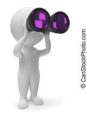 3d, маленький, люди, -, binoculars