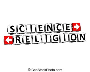 3d, наука, или, религия, над, белый, background.