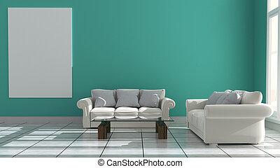 3d, -, оказание, комната, интерьер, мята, style., современное