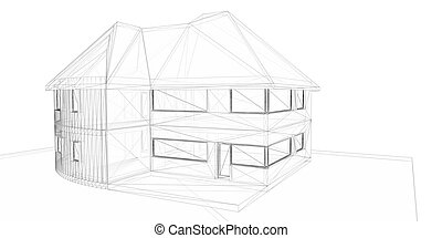 3d, оказание, wire-frame, of, house., белый, background.