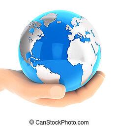 3d, рука, держа, синий, земля