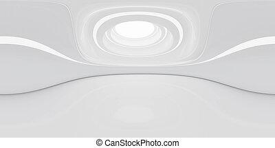 3d, современное, степень, оказывать, equirectangular, белый, hdri, здание, 360, иллюстрация, панорама, футуристический, полный, интерьер