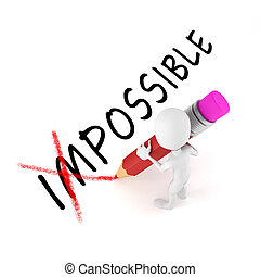 3d, человек, with, карандаш, оптимистичный, отношение, на,...