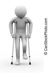 3d, человек, with, crutches