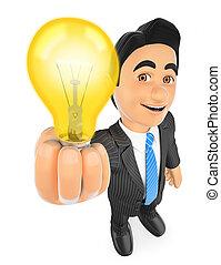 3d, איש עסקים, עם, a, הדלק, אור, bulb., רעיון, מושג